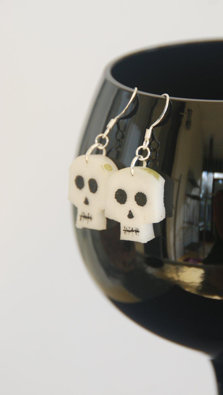 Skull Wine Cork Earrings Halloween