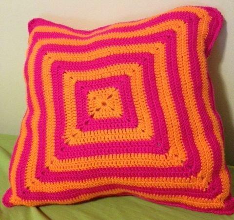 """Tequila Sunrise"" - Orange and Pink Semi-Solid Granny Square Pillow"