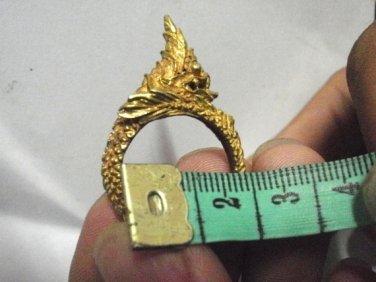 Thai Holy Brass Ring Statue Hindu Naga Great Snake Good Luck Good Life