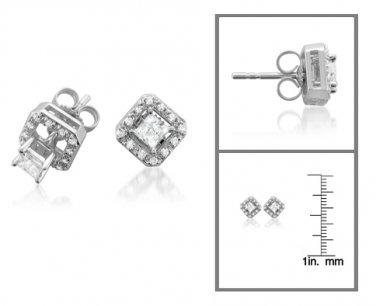 14k Gold Princess 1/2 ctw Diamond with Removable Jacket Stud Earrings (I-J, I2)