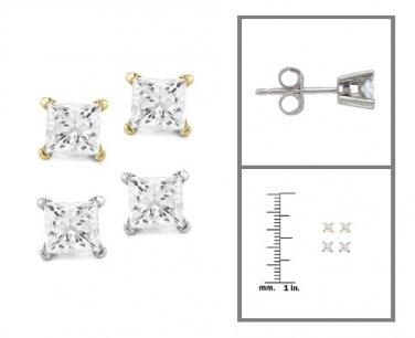 14k White or Yellow Gold 1/5 ctw Princess-cut Diamond Stud Earrings (I-J, I2)