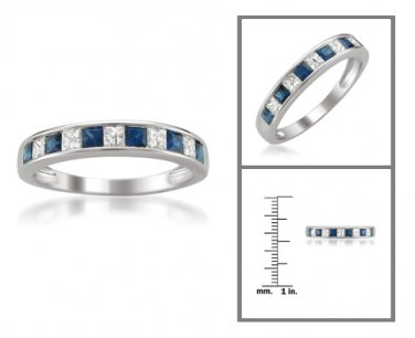 14k White Gold 1 ctw Princess-cut Diamond & Sapphire Wedding Band (H-I, I1-I2)