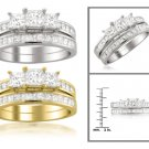 14k White or Yellow Gold 2 ctw Princess-cut 3-Stone Diamond Bridal Set Ring