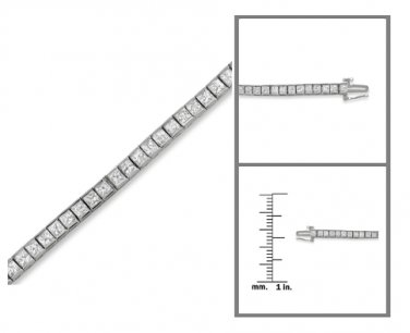 14k Gold IGL Certified Princess-cut Diamond Tennis Bracelet (5 cttw, H-I, I1)