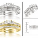 14k White or Yellow Gold 1 ctw Princess-cut 3-Stone Diamond Bridal Set Ring