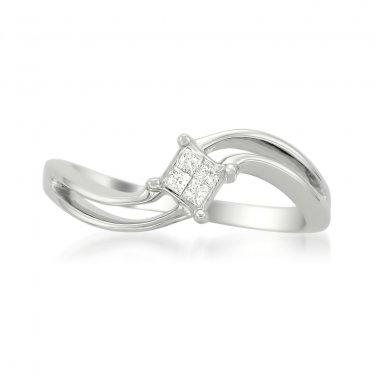 14k Gold 1/10 ctw Princess-cut Diamond Invisible-Set Engagement Ring (H-I, I2)