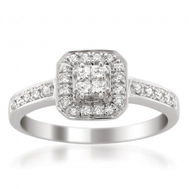 14k White Gold 1/3 ctw Princess-cut & Round Diamond Halo Engagement Ring (H-I, I1-I2)
