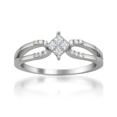 14k White Gold 1/4 ctw Princess-cut & Round Diamond Engagement Ring (H-I, I1-I2)
