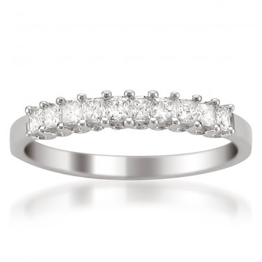 14k White Gold 1/2 ctw Princess-cut Diamond Bridal Wedding Band Ring (H-I, I1-I2)