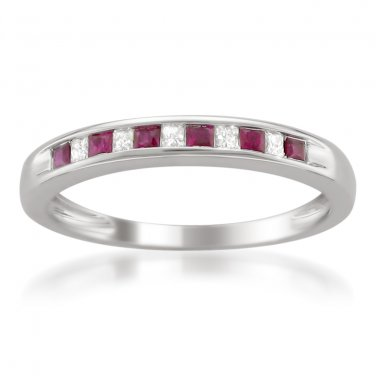14k White Gold 1/3 ctw Princess-cut Diamond & Ruby Wedding Band (H-I, I1-I2)