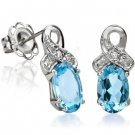 Blue Topaz with White Diamond Earrings