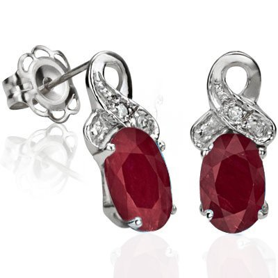 Amazing 1.23 CT Genuine Ruby with Diamond Earrings