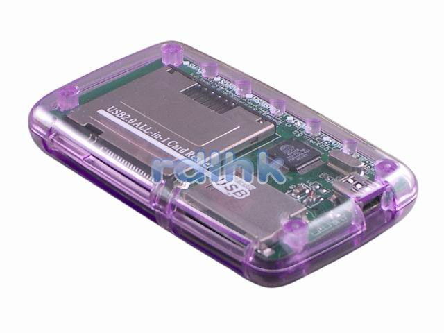 PURPLE ALL-IN-1 USB 2.0 CARD READER FOR MMC/MS/SD/XD