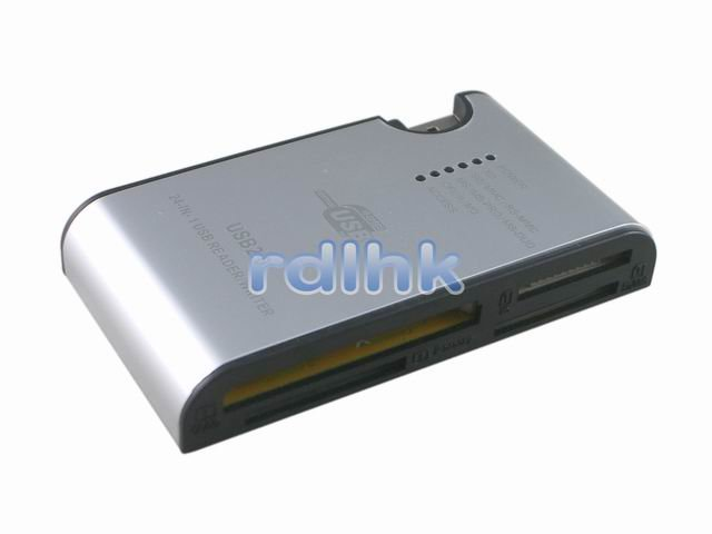 SILVER 24-IN-1 USB 2.0 CARD READER FOR MMC/MS/SD/XD