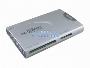SILVER 23-IN-1 USB 2.0 CARD READER + USB HUB
