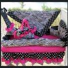 HOT PINK BLACK ZEBRA POLKA DOTS Crib Bedding Set