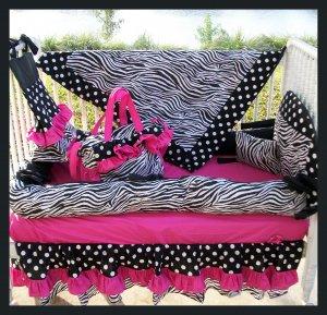 NEW crib bedding set HOT PINK BLACK ZEBRA POLKA DOTS
