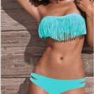SEXY Lady's Tassel PAD Bandeau Fringe Top BIKINI Bottom BEACH Swimsuit SWIMWEAR