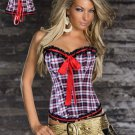 Plaid Printed Corset with Ruffle Trim