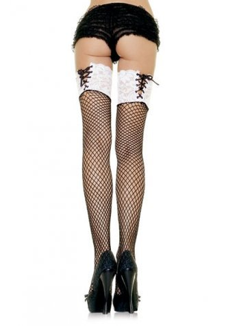 Fishnet Stockings w/ Contrast Lace Up Top