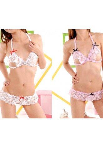 Seductive Ruffle Lace Garter Set
