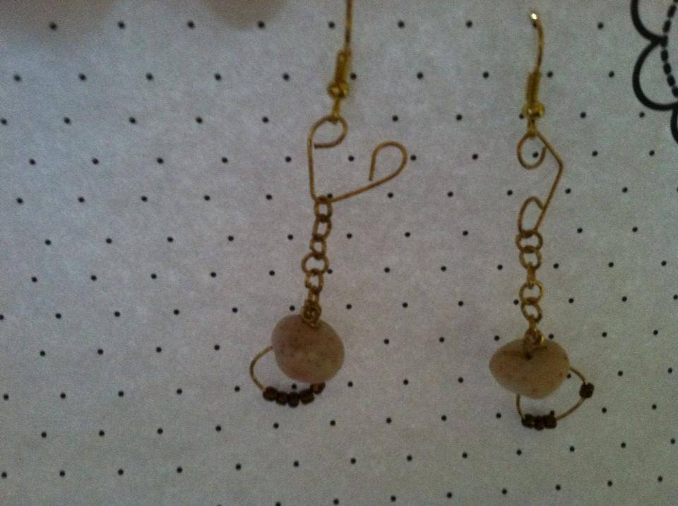 Handpicked Puka Shell Earrings with Hearts & Bronze Bead Accent