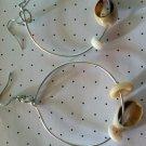 Silver Hoop earrings with Cowry & Puka Shells.