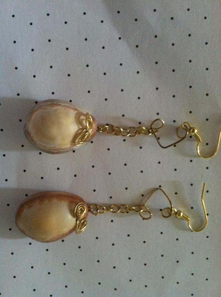 Handpicked Cowry Shell Earrings with Swirls