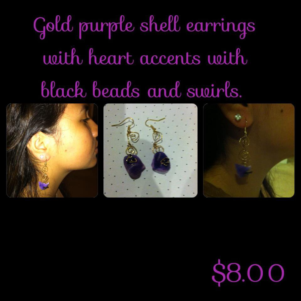 Gold Purple Shell Earrings with bead accents & Swirls