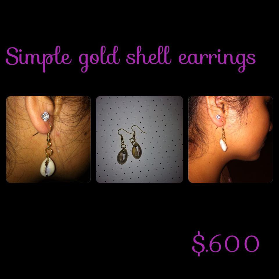 Gold Simple Cowry Shell Earrings