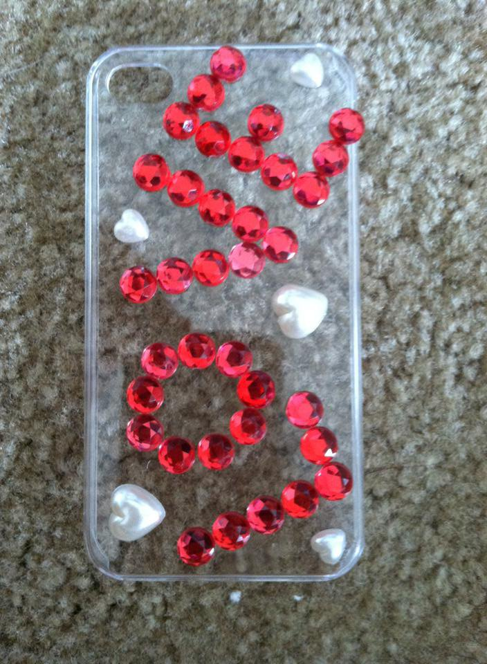 Clear iPhone 4/4s Case. LOVE with White Hearts