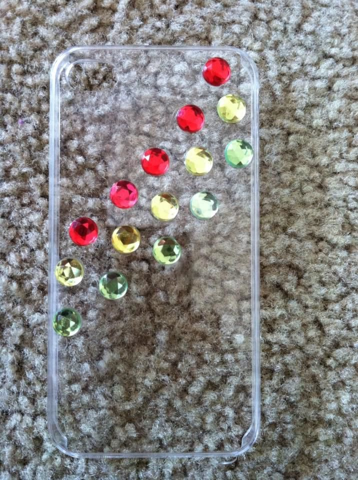 Clear iPhone 4/4s Case. Red,Yellow, & Green
