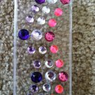 Clear iPhone 4/4s Phone Case. With Pink Purple & Clear Gems