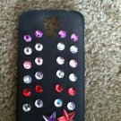Black Galaxy S3 Phone Case. Clear,Red,Purple Gems with Stars