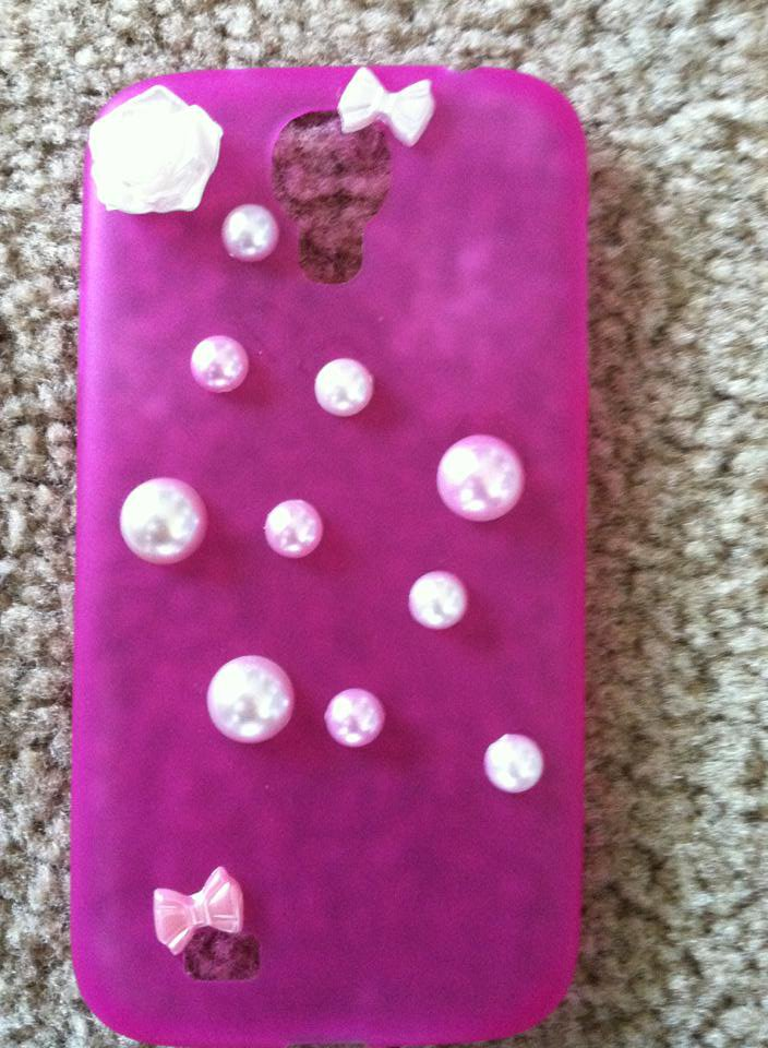 Pink Galaxy S3 Phone Case. Pink & White Dots & Bows