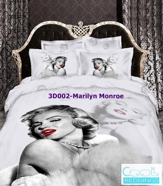 3D 100% cotton Marilyn Monroe Bedding Set (Queen Size )