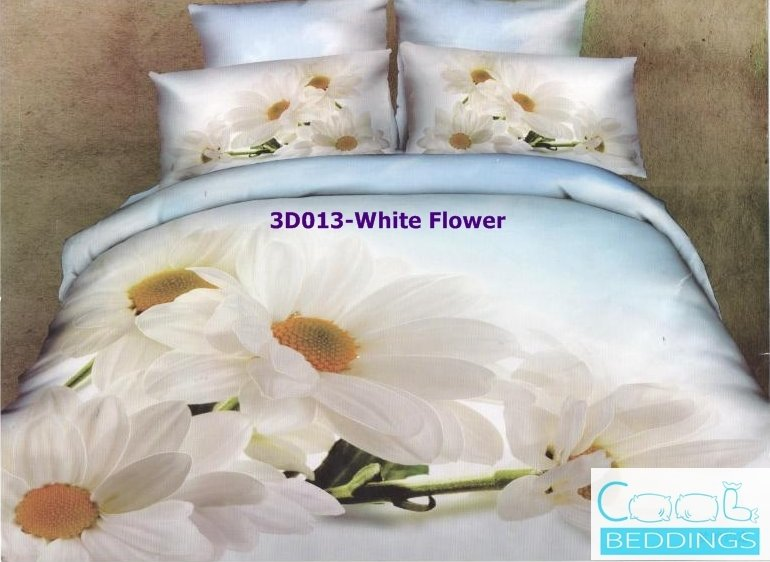 3D 100% cotton White Flower Bedding Set (Queen Size )