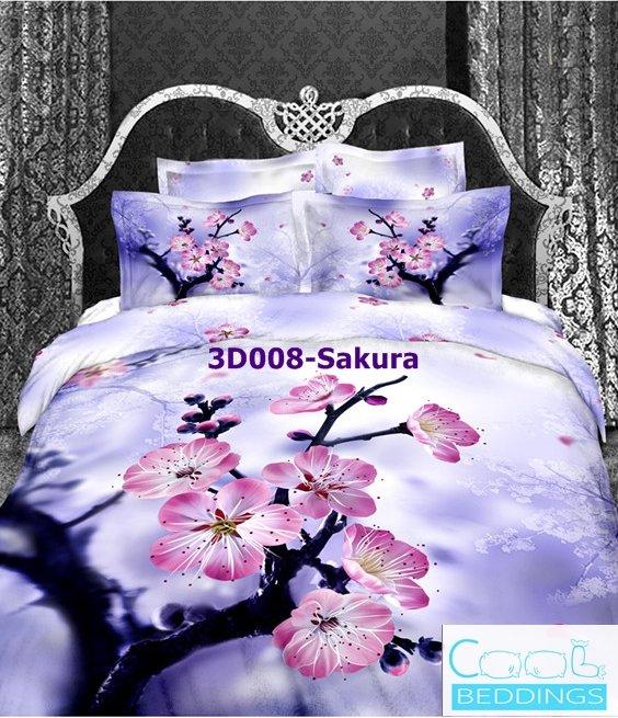 3D 100% cotton Sakura Bedding Set (Queen Size )