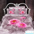 3D 100% cotton Pink Flower Bedding Set (Queen Size )