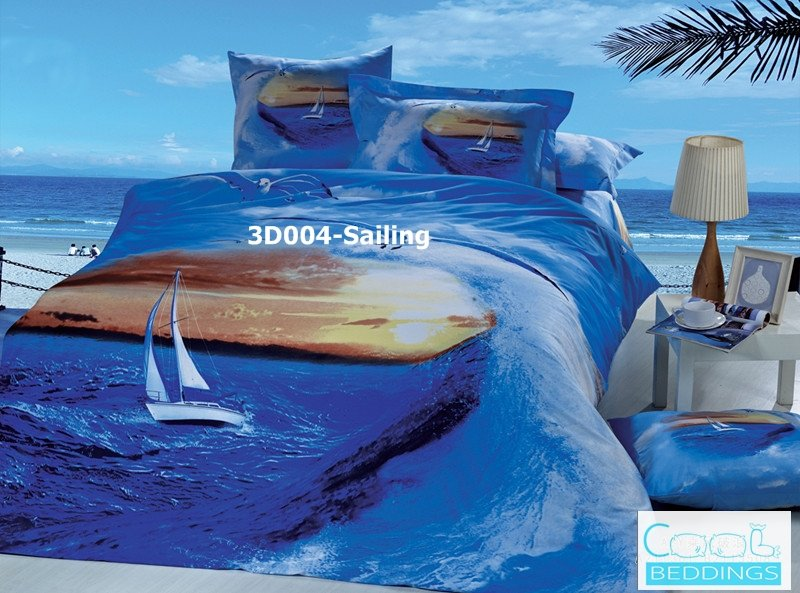 3D 100% cotton Sailing Bedding Set (King Size )