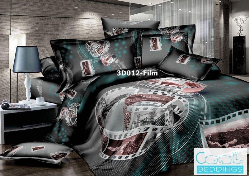 3D 100% cotton Flim Bedding Set (King Size )