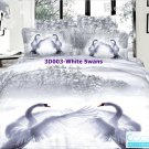 3D 100% cotton White Swans Bedding Set (King Size )