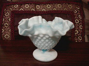 VINTAGE BLUE/WHITE MARBLE SWIRL HOBNAIL COMPOTE