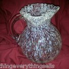 ELEGANT PINK w/WHITE SPECKLES ROUND RUFFLE ART GLASS PITCHER