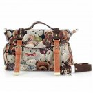 Canvas Bear Print Messenger Bag