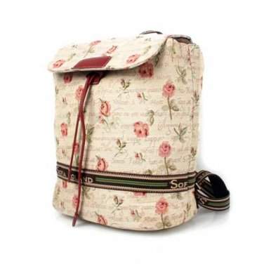 Embroidered Floral Drawstring Canvas Bag