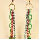 E11 - green, blue & red beaded earrings