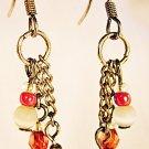 E27 - pink & white beaded earrings