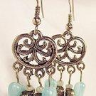 E28 - turquoise & silver beaded earrings