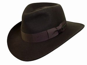 Officially Licensed - Indiana Jones  - Wool Fedora - Crushable Hat - Brown-Large